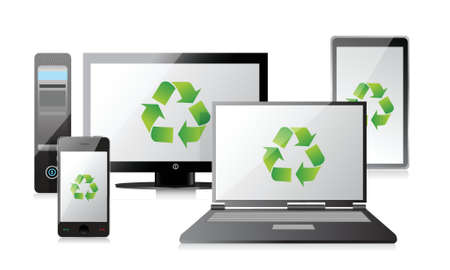 recycle Computer, Laptop Tablet and Phone and router illustration design Vector