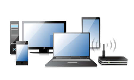 Computer, Laptop Tablet and Phone, router illustration design Vector