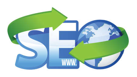 seo text with earth globe, search engine optimization concept illustration Vector