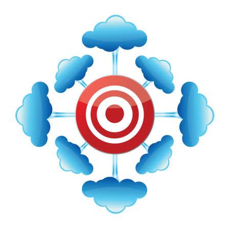 Cloud Computing target illustration design over a white background Illustration