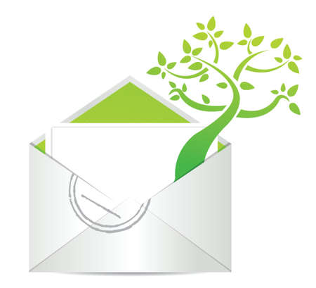 Open envelope with green tree growing from inside illustration design Çizim