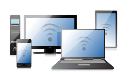 smart: Computer, Laptop Tablet and Phone with connection illustration design Illustration
