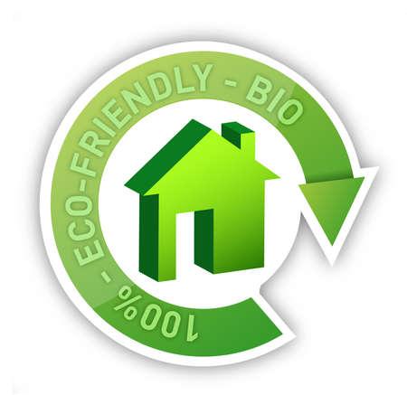 Eco home bio friendly house concept illustration design over white Stock Illustration - 17870857