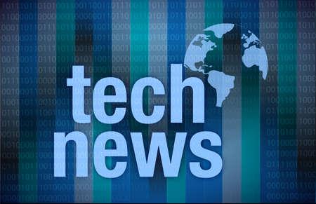 Tech News on digital background illustration design over dark Stock Illustration - 17871880