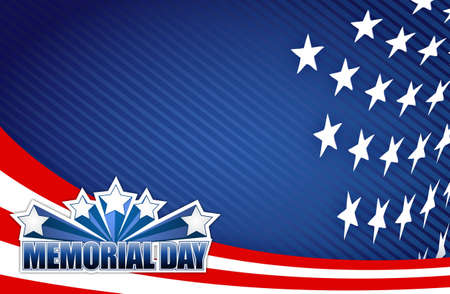 labor strong: Memorial day red white and blue illustration design graphic background