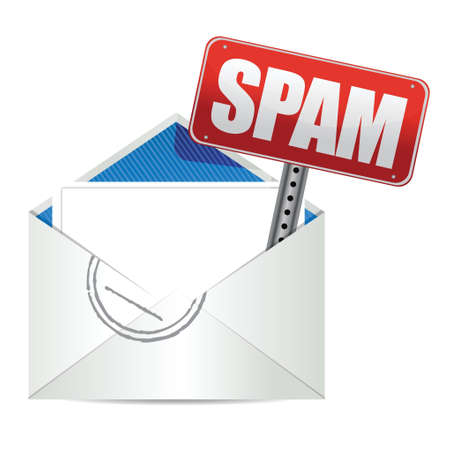 spam mail: spam mail or e-mail concept sign illustration design over white Illustration