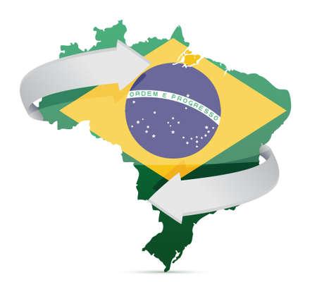 flag map of Brazil changing ideas concept illustration design over white Ilustrace