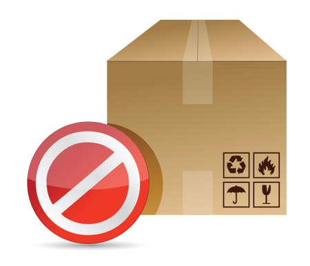 brown box: non, non firmare su una scatola di imballaggio design illustrazione marrone su uno sfondo bianco