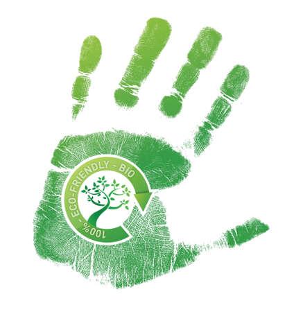 緑手形エコ、白色の背景上のバイオ イラスト デザイン  イラスト・ベクター素材