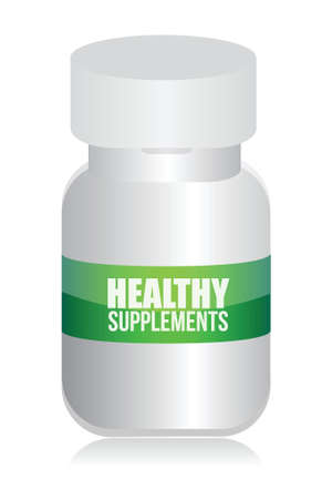 supplements: healthy medical supplement pills jar illustration design over white