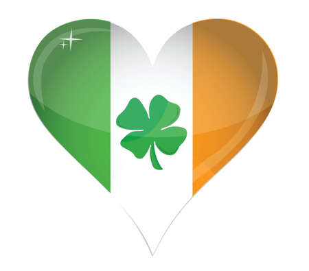 irish pride: Ireland Flag Heart Glossy and clover illustration design over white