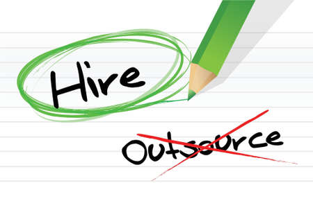 Choosing to Hire instead of Outsource illustration design Vector