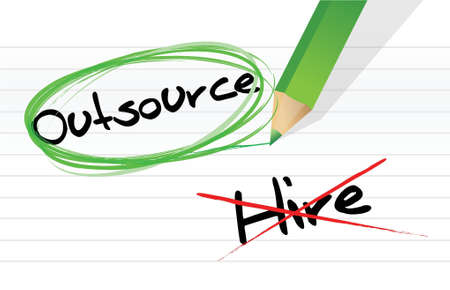 Choosing to Outsource instead of hiring illustration design Stock Vector - 17871915