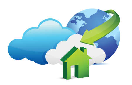 home security system: Cloud computing home arrival illustration design over a white background