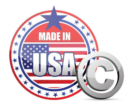 Made in USA flag seal with copyright sign illustration in front Vector