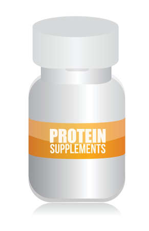 protein supplements plastic medicine bottle illustration design over a white background Stock Vector - 17872099