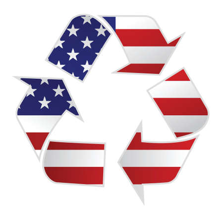 USA recycle illustration design over a white background