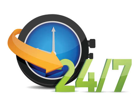 24x7: watch 247 Concept illustration design over white