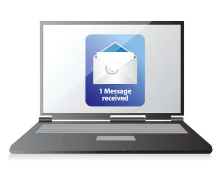 consignor: laptop and mail illustration design over a white background Illustration