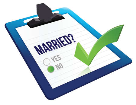 validated: married status question yes or no illustration design over a white background