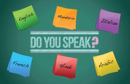do you speak board illustration design over a white background
