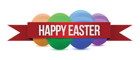 Happy Easters banner illustration design over a white background Vector