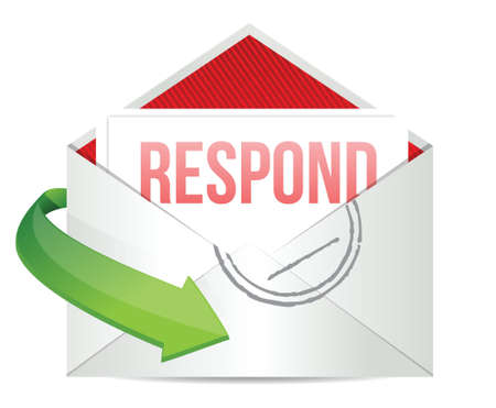 respond envelope illustration design over a white background Illustration