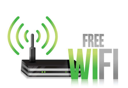 wlan: free wifi router illustration design over a white background Illustration