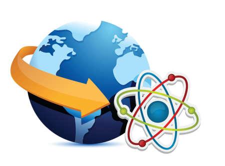 globe arrow: globe arrow and atom illustration design over a white background