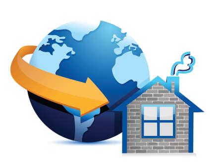 globe arrow: globe arrow and home illustration design over a white background