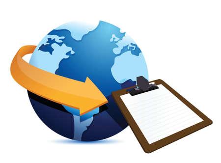 globe arrow: globe arrow and clipboard illustration design over a white background Illustration