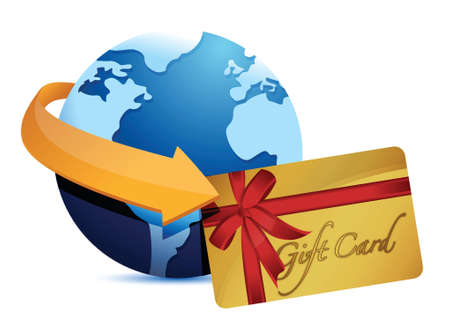 globe arrow and giftcard illustration design over a white background