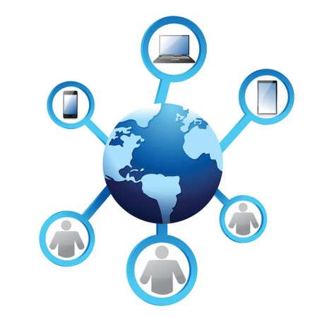 global work company: Teamwork concept illustration design over a white background Illustration