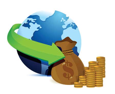 globe arrow: globe arrow and money illustration design over a white background