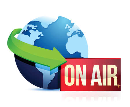 global news on the air illustration design over a white background