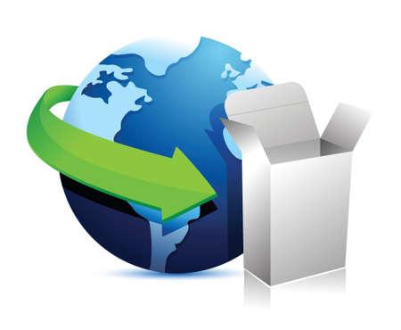 globe arrow: globe arrow and product box illustration design over a white background Illustration