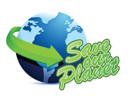 save the planet illustration design over a white background