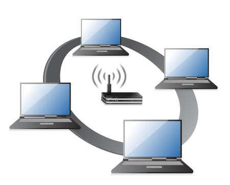 dsl: WIFI  WLAN Laptops collegamento concetto di design illustrazione su uno sfondo bianco Vettoriali