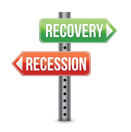 Recession and Recovery road sign illustration design over a white background Vector