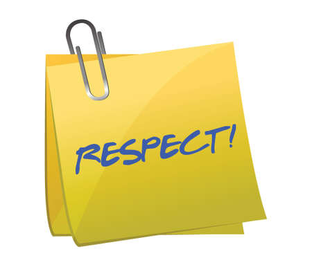 respect written on a sticky note illustration design over a white background Çizim