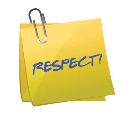 respeto: Respeto por escrito en un dise�o ilustraci�n nota pegajosa sobre un fondo blanco