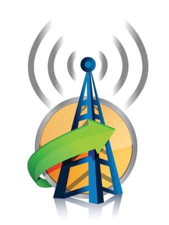 wifi tower connected illustration design over a white background