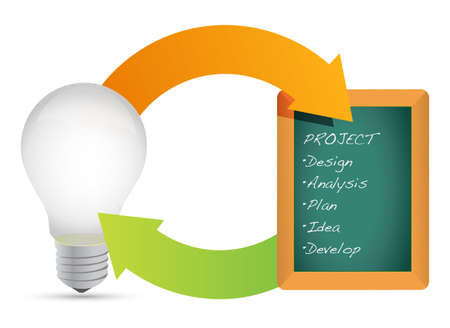 Concept of project light bulb diagram chart illustration design