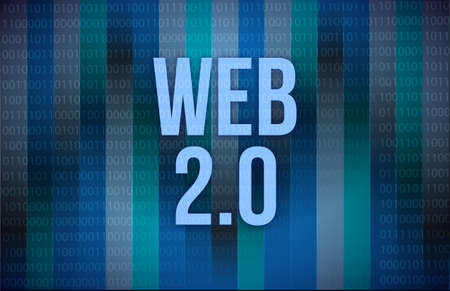 web 2 0: web 2.0 text on a binary code on blue digital screen Stock Photo