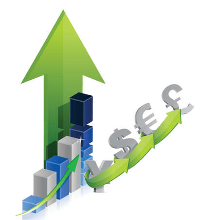 stockmarket chart: graph of currency: dollar, euro, pound, yen illustration design over a white background