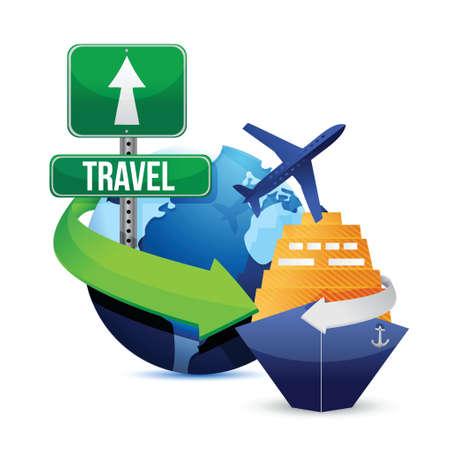흰색 배경 위에 여행의 개념 그림 디자인