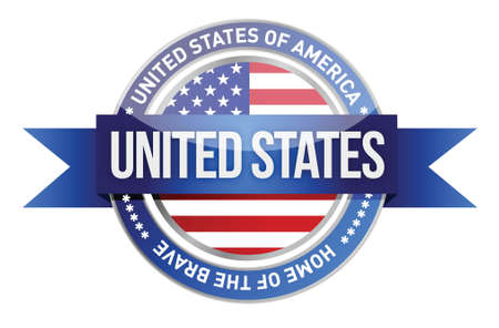 postage stamp: United States of America, USA seal illustration design over white