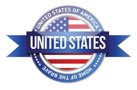 United States of America, USA seal illustration design over white