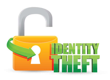 unsecured identity theft Gold lock illustration design over a white background Vector