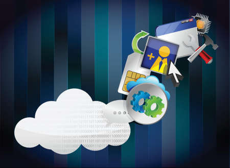 binary cloud of colorful application icons isolated on white background